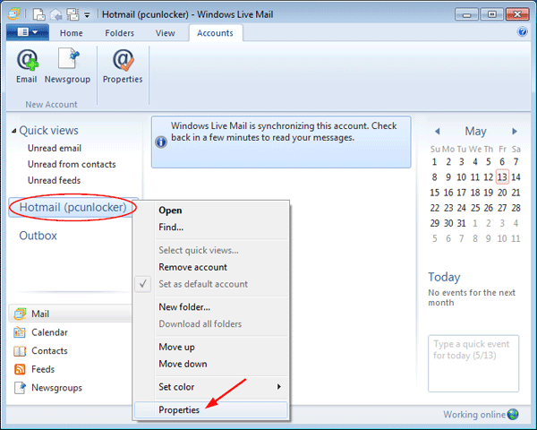 Change My Password in Windows Live Mail