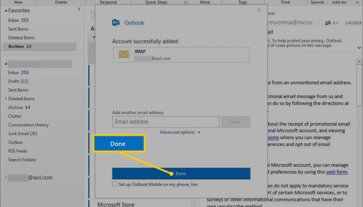 how to add aol email to outlook